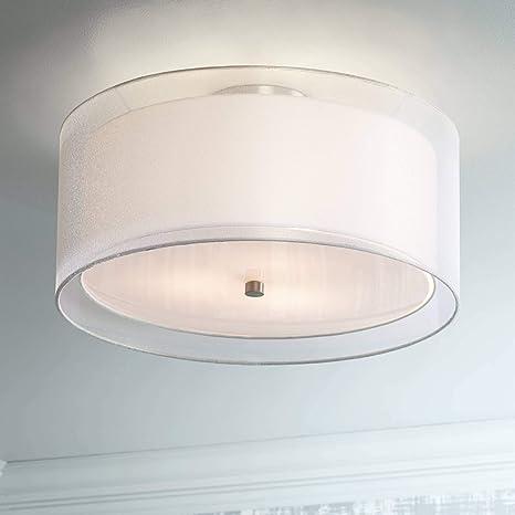 Admirable Ceiling Light Flush Mount Fixture Polished Nickel Double Drum 18 Wide For Bedroom Kitchen Possini Euro Design Download Free Architecture Designs Xoliawazosbritishbridgeorg