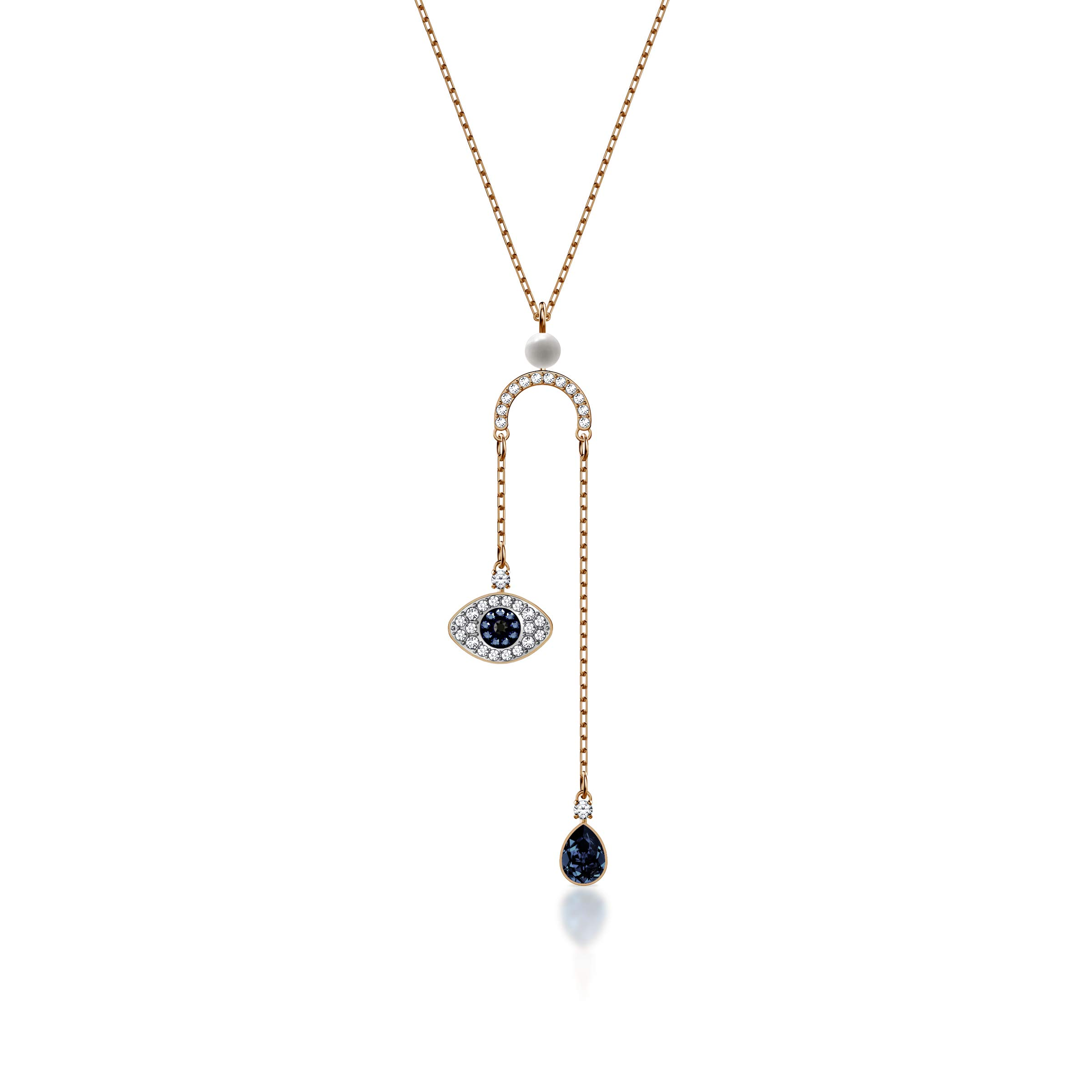 Swarovski Crystal Duo Evil Eye Rose Gold-Plated Y Necklace #5425861