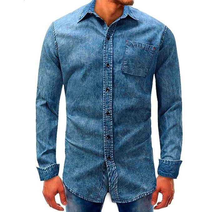 Resplend Camiseta Denim de Mangas largas con botón de Manga Larga, Blusa sólida básica,