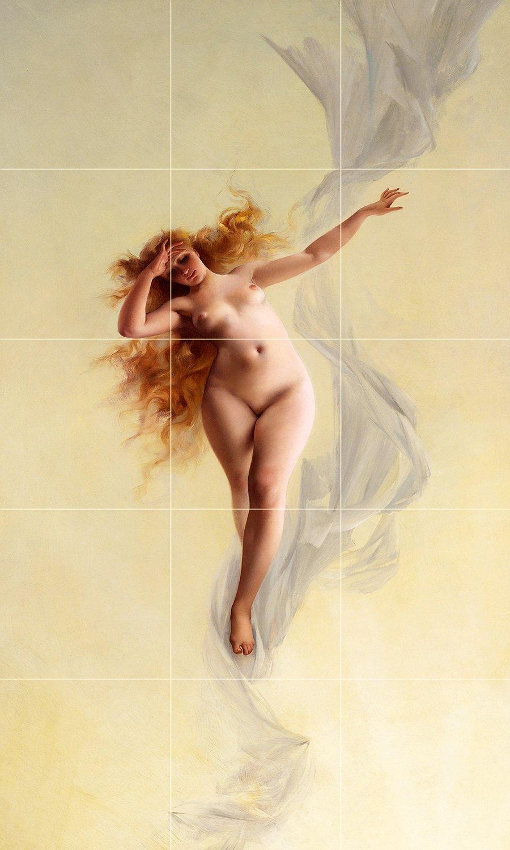 Tile Mural DAWN by Luis Ricardo Falero girl nude woman Kitchen Bathroom Shower Wall Backsplash Splashback 3x5 4'' Marble, Matte by FlekmanArt