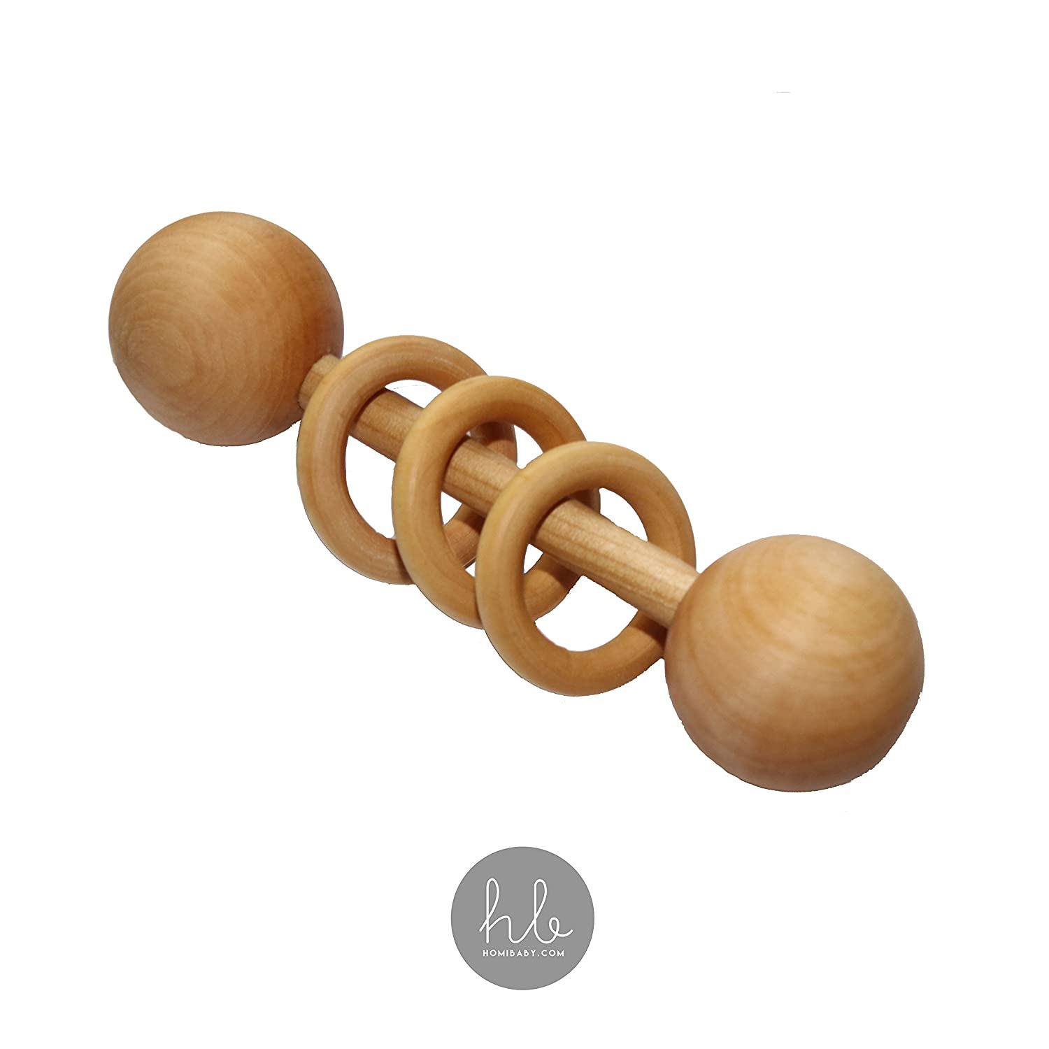 Handmade in USA Natural Wood Baby Teething Ring and Rattle