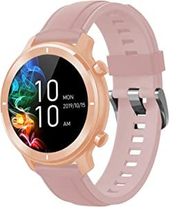 Smart Watch for Android Phones and iPhone Compatible, IP68 Waterproof Watches for Men Women with Blood Pressure Monitor, Heart Rate, Pedometer, Notifications, Alarm Clock, Round Face, 2020, Rose Gold