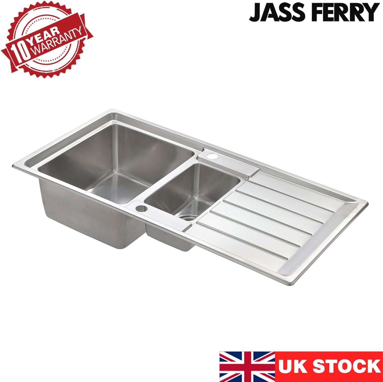 1,5 l attaches pour tuyaux d/'/évacuation deux bacs avec /égouttoir r/éversible Jass Ferry/- /Évier de cuisine en acier inoxydable