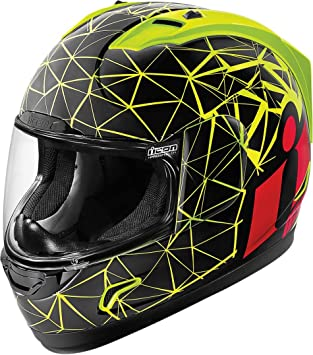 Casco Moto Icon Alliance crysmatic amarillo neón negro rojo