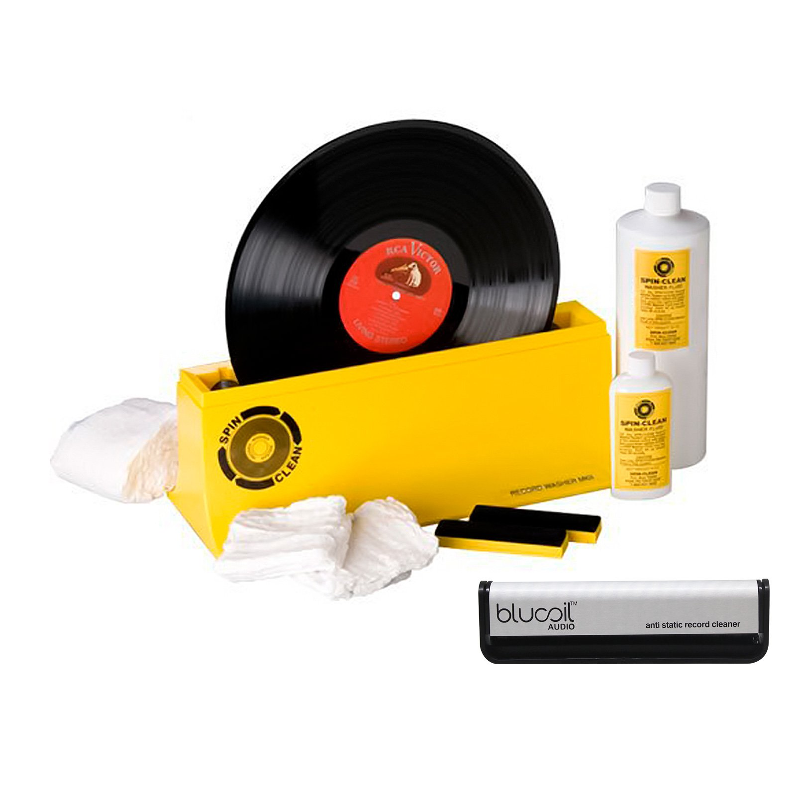 Spin Clean - Complete Record Washer System Mk2 - PLUS - Blucoil Audio Anti-Static Carbon Fiber Vinyl LP Record Cleaning Brush