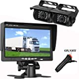LeeKooLuu Dual Backup Cameras 7 inch LCD Monitor System Kit Bus/Truck/Trailer/RV/Campers Night Vision IP68 Waterpoof ON/Off Switch Guide Lines Normal/Mirrored Pictures Controllable