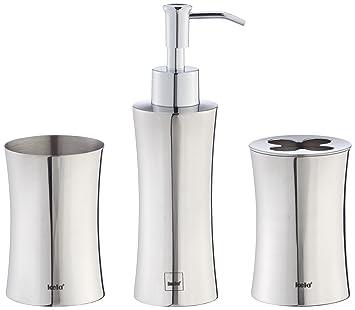 kela 390104 Gloria - Juego de recipiente, soporte para cepillos de dientes y dispensador de jabón líquido (3 unidades, acero inoxidable), color plateado: ...