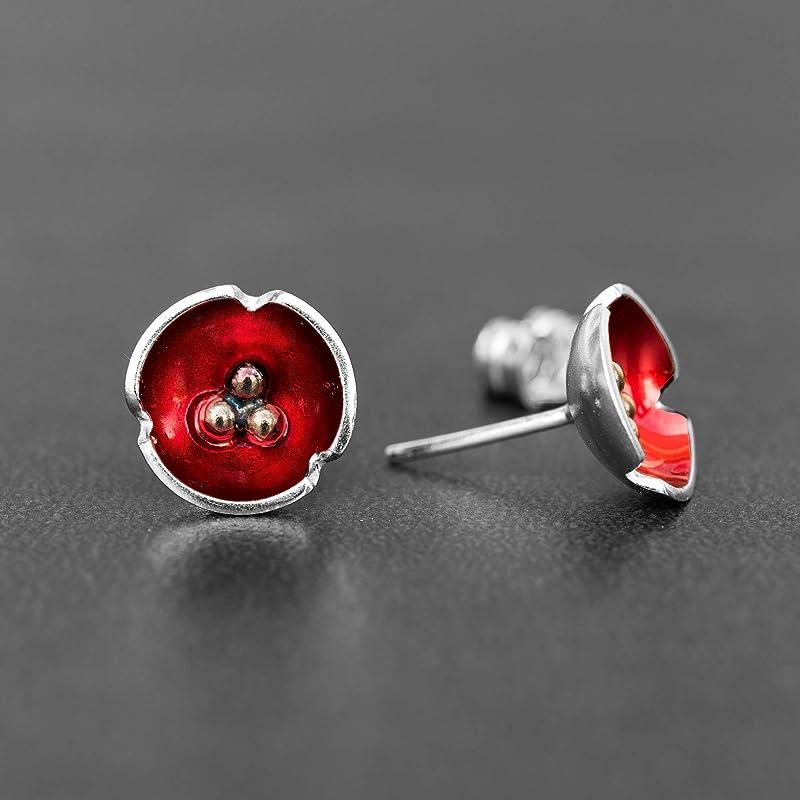 pendientes de flores pendientes rojos Pendientes de esmalte de regalo pendientes de plata de ley pendientes minimalistas joyas de esmalte pendientes de bot/ón redondos