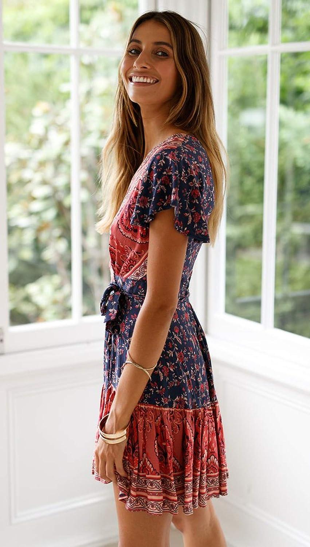 ASSKDAN Women's V-Neck Floral Print Short Sleeve Boho Dress Party Evening Beach Mini Tunic Dress Z-3red