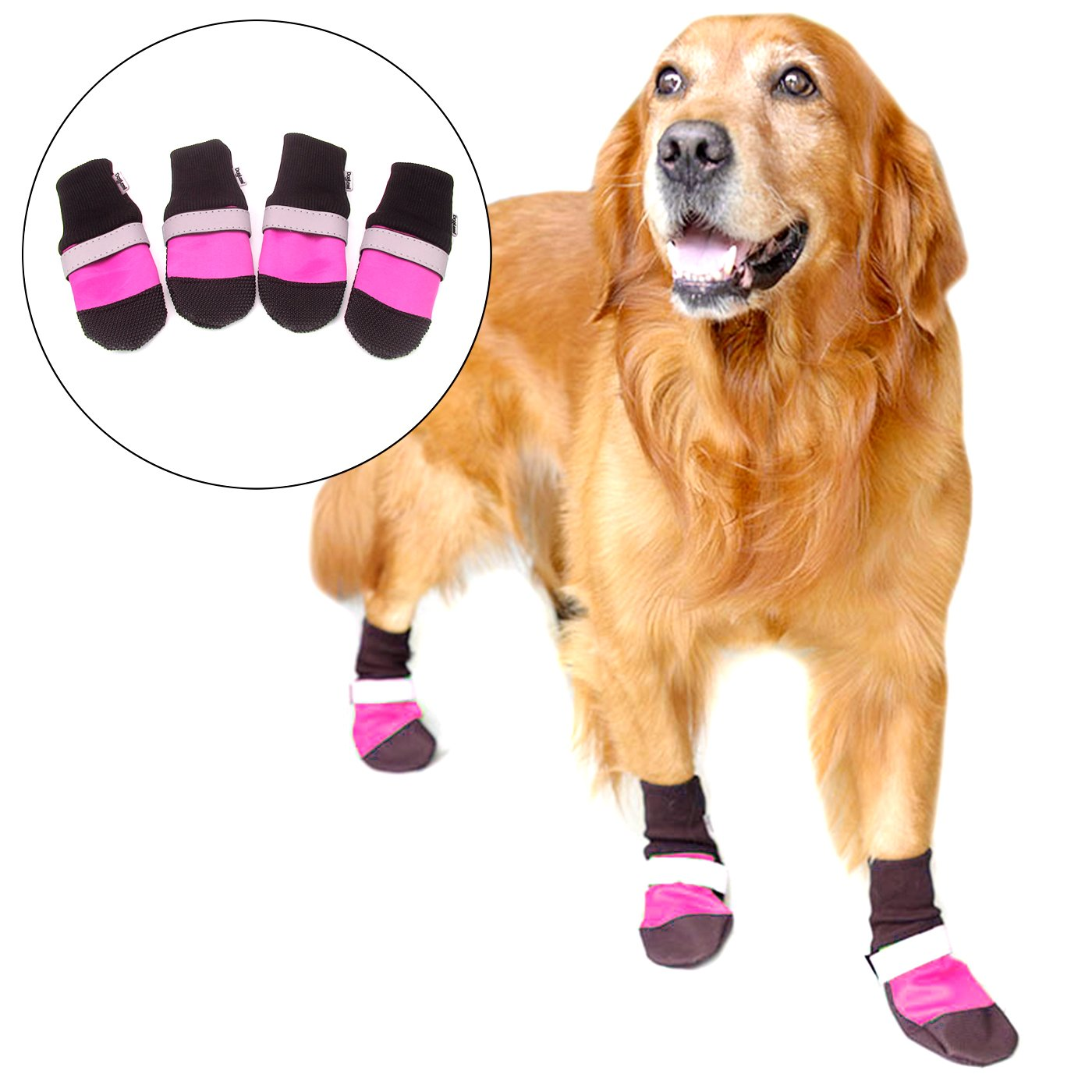 Alfie Pet by Petoga Couture - Dorian All Weather Set of 4 Dog Boots - Color: Pink, Size: XL