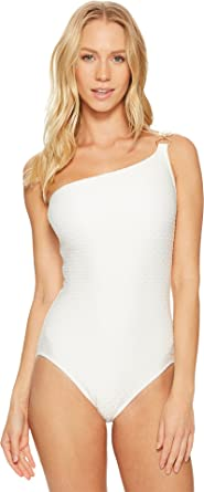 caa0fb25ef2bf MICHAEL Michael Kors Women s Sea Side Texture One Shoulder One-Piece  Swimsuit w Ring