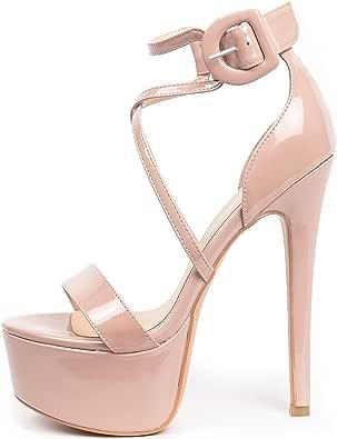 EDEFS Zapatos de Tacón para Mujer,Sandalias para Mujer,Sandalias Tacón Alto para Mujer,16cm