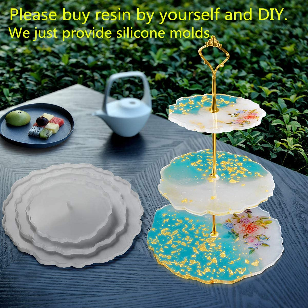 3 Tier Cake Stand Resin Tray Molds Silicone Molds for Resin,DIY Irregular Epoxy Resin Casting Mold Home Decoration Craft with 3 Pcs Tray Brackets