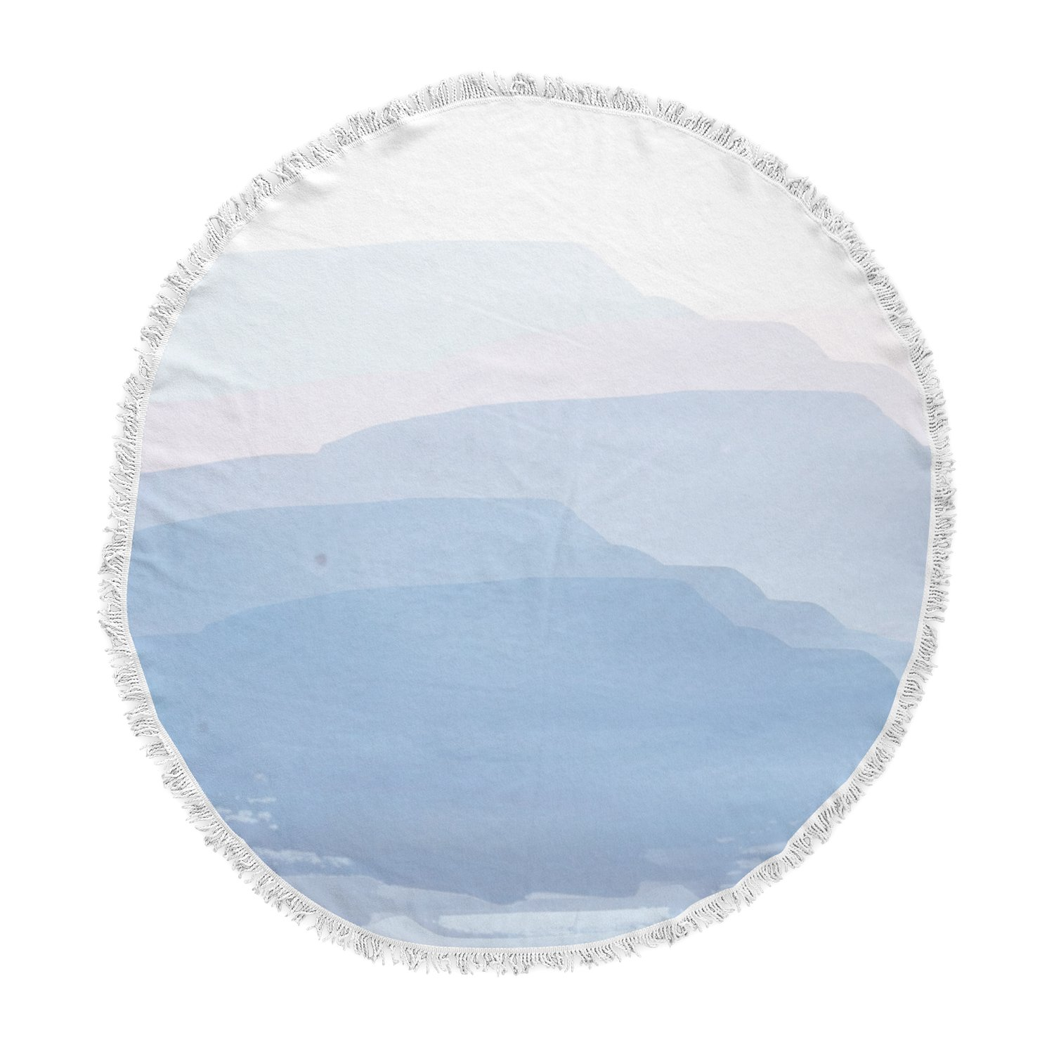 Kess InHouse Jennifer Rizzo Layered Mountains Blue White Abstract Round Beach Towel Blanket