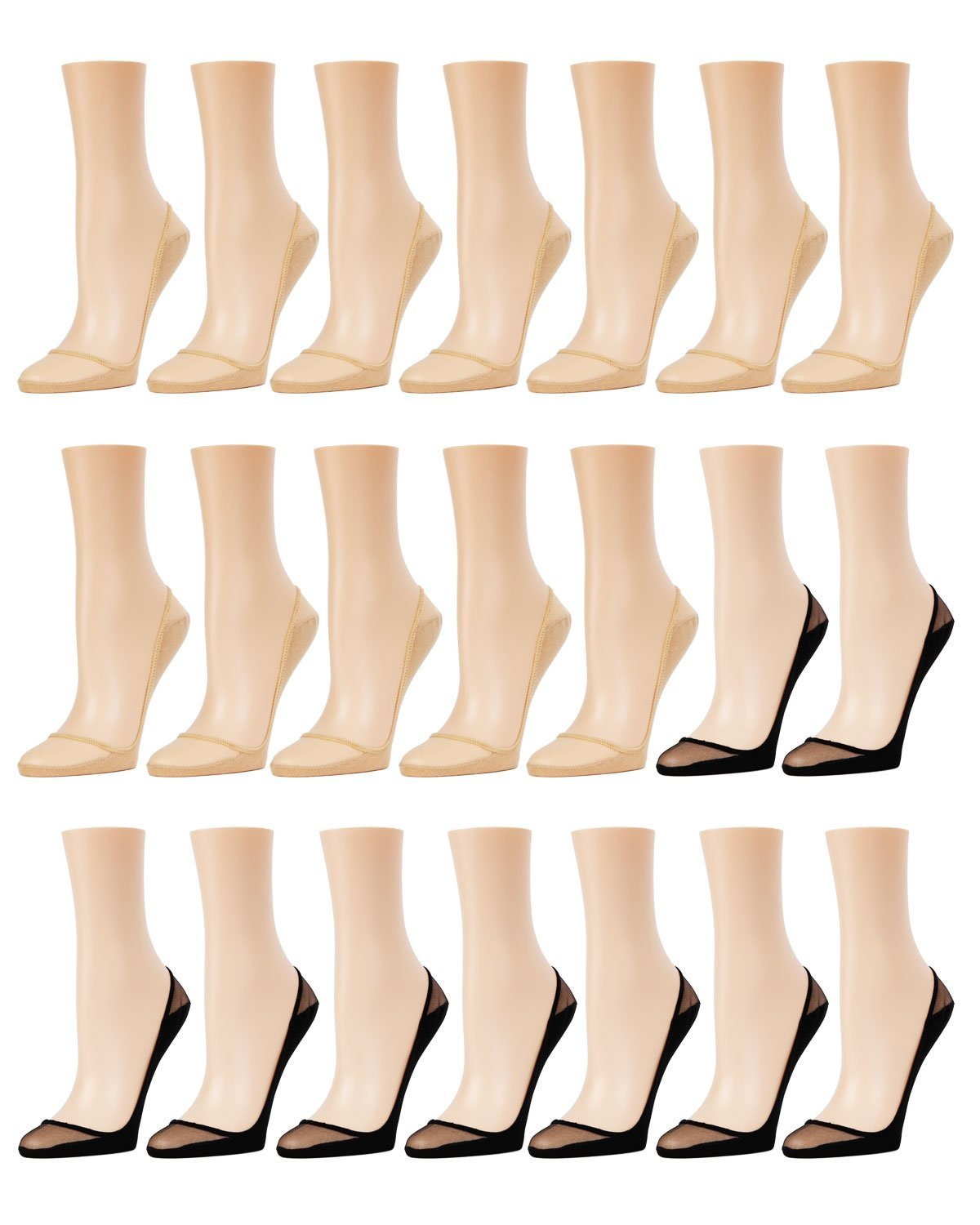 Memoi Sheer Top Cotton Sole Liner 21 pair Pack | Shoe Pads | Cotton Socks Nude/Black K03 MP054 One Size