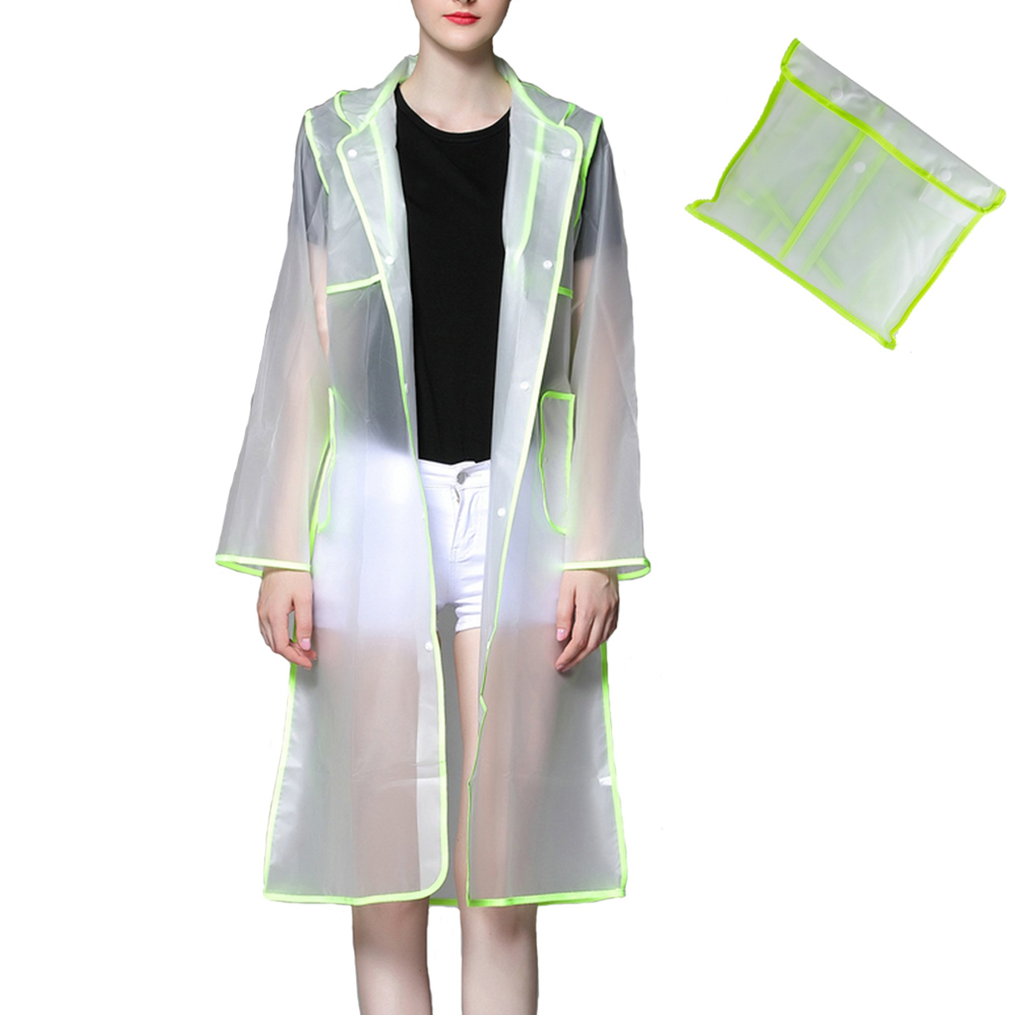 Womens Waterproof Hooded Raincoat Lightweight Easy Carry Semi-transparent Poncho Runaway Style Reusable Rainwear (X-Large, Green)