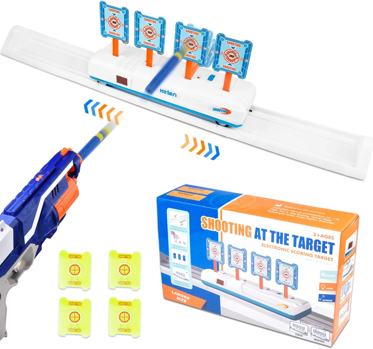 Keten Electric Digital Moving Target for Nerf Guns, 4 Targets Electronic Scoring Auto Reset Toy with Light Sound Effect for Nerf Blaster Elite/Mega/Rival Serie, Ideal Gift Toys for Kids, Boys & Girls