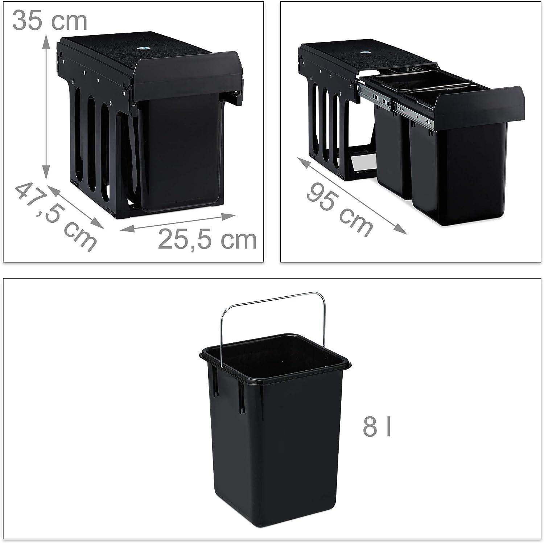 relaxdays 10031546 3 bacs 20l /& 2x10l syst/ème de trie pour le sous-/évier 41x33,5x52 cm gris poubelle encastrable coulissante