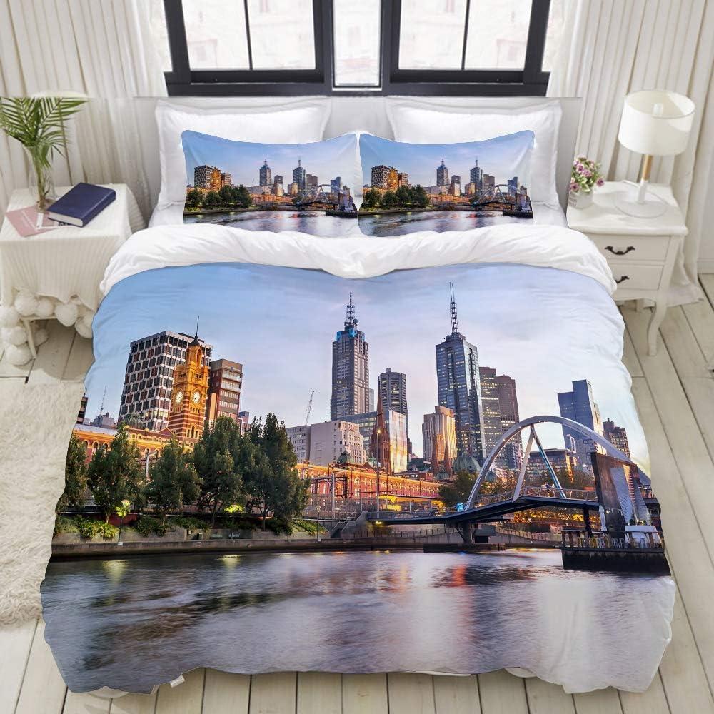 Funda nórdica, ciudad, paisaje de madrugada en Melbourne, Australia, famoso río Yarra escénico, juegos de cama decorativos de 3 piezas con 1 funda de edredón y 2 fundas de almohada para adolescentes a