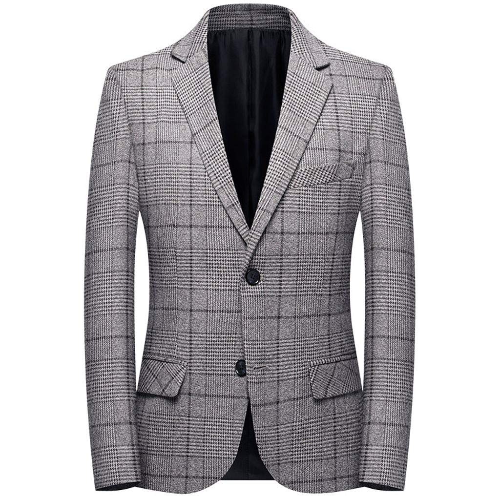 Mens Plaid Slim Fit Check Striped Tuxedo Prom Wedding Groom Suits Blazers Jacket Coat Gray by F_Gotal Mens blazer