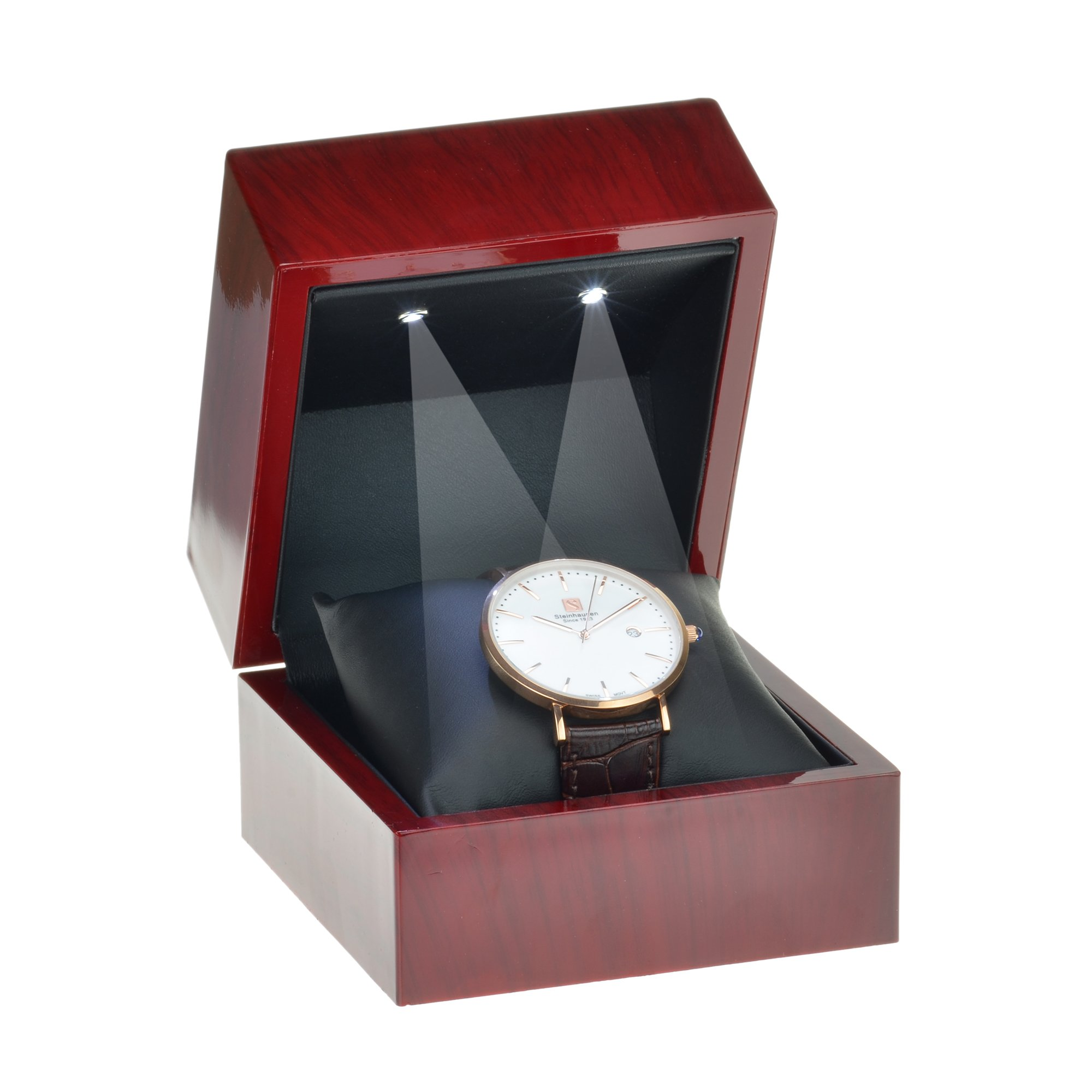 Geff House Cherry Wood Style Plastic Watch Gift Box with LED Lights (Black Interior)