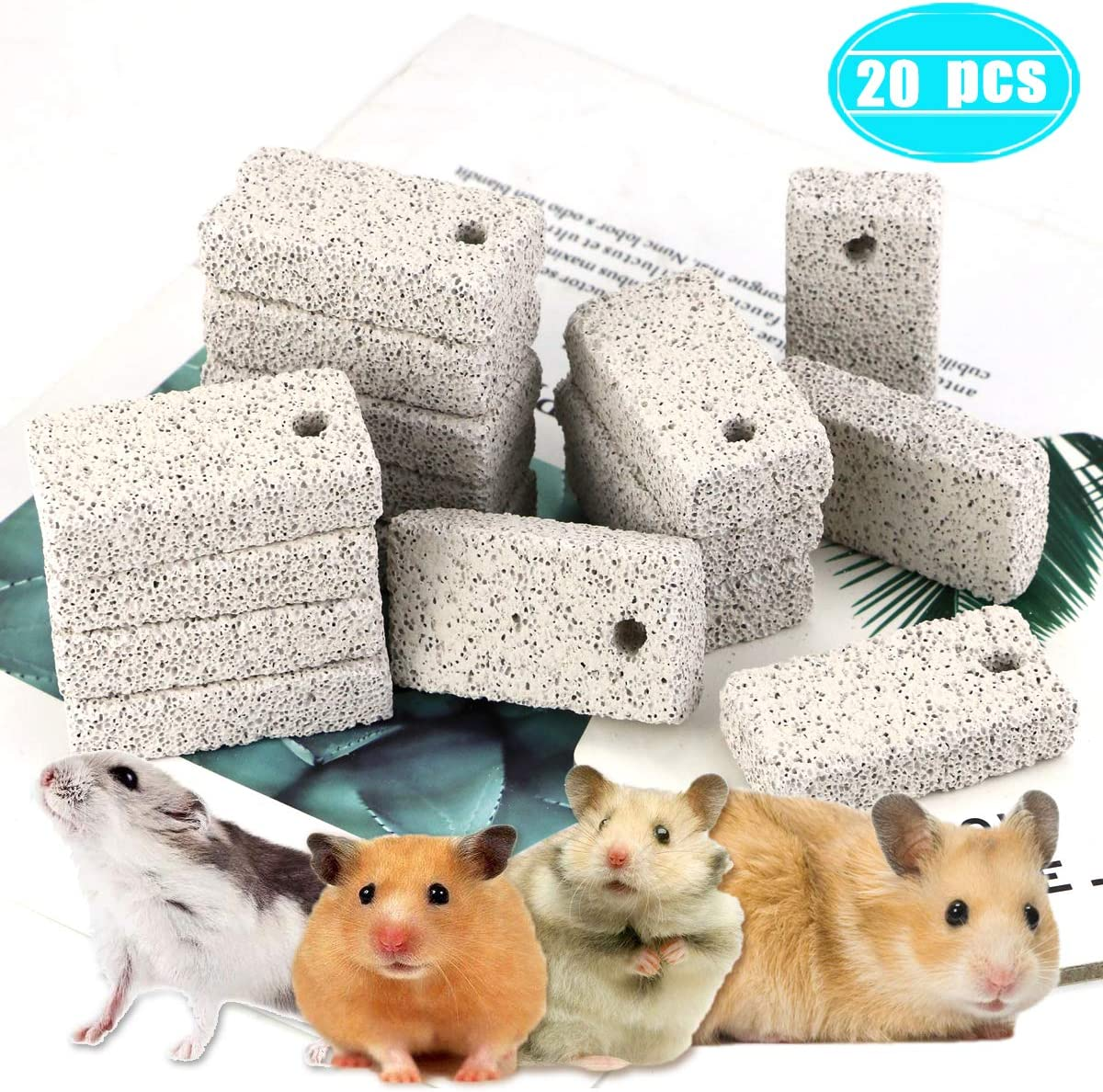 Newbested 20 Pcs Small Animal Pet Lava Bites Chews Toy Teeth Grinding Block Mineral Calcium Stone for Hamsters Parrot Chinchillas Rabbits