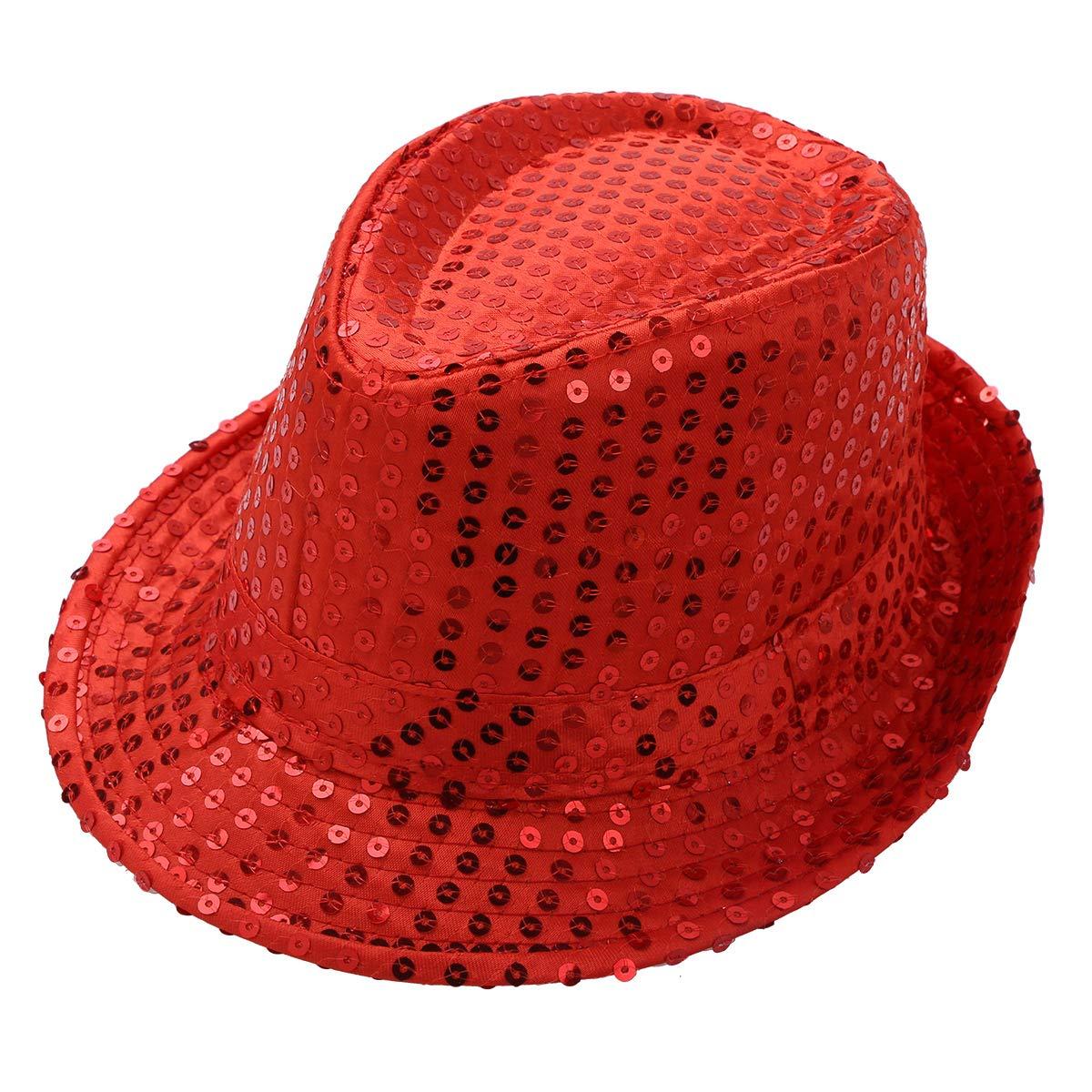 MSemis Unisex Children Solid Color Sequins Fedora Hat Hip Hop Jazz Latin Street Dancewear Cap Red One Size