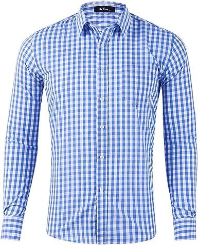 DishyKooker - Camisa de Manga Larga de algodón para Hombre, diseño de Cuadros: Amazon.es: Ropa y accesorios