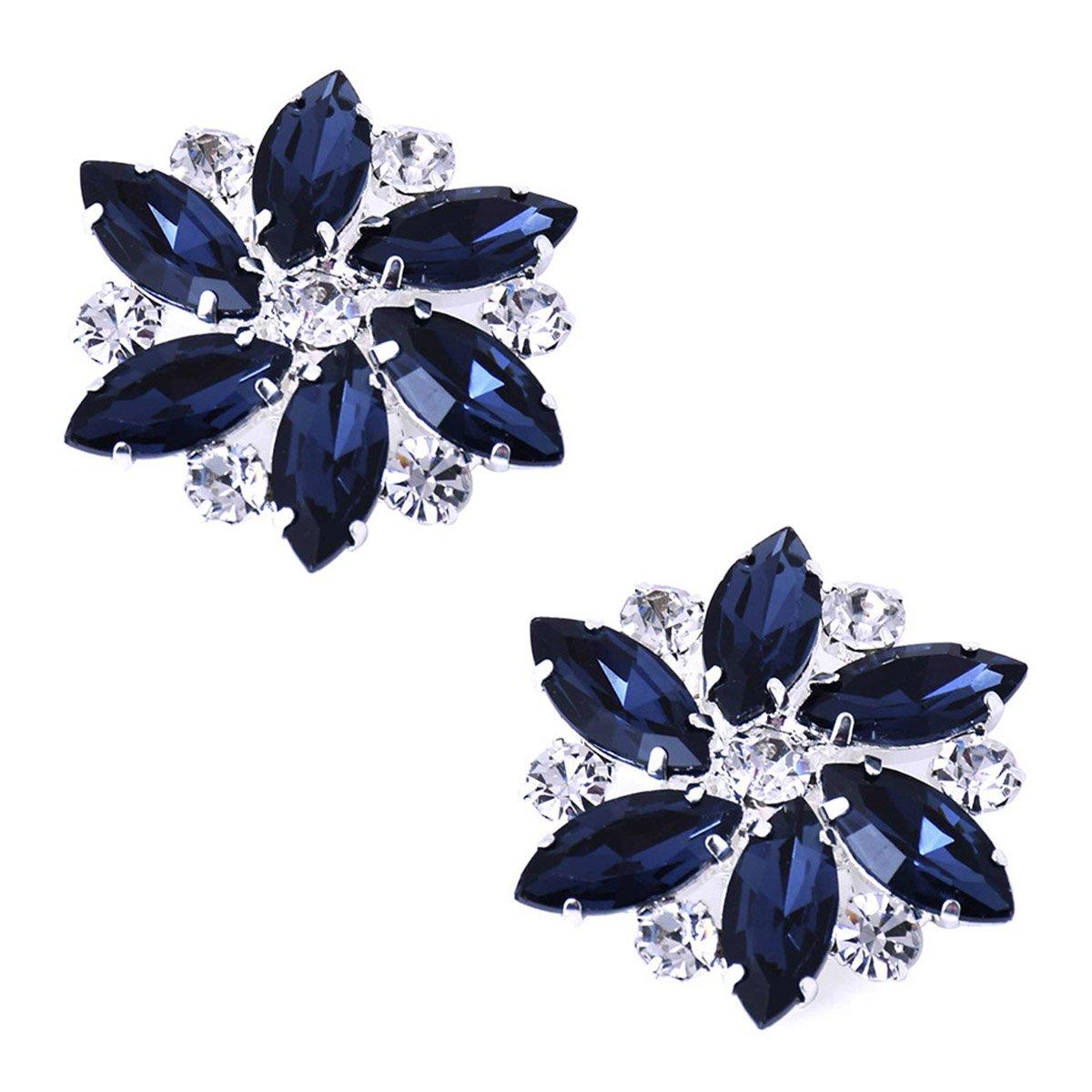 ElegantPark AJ Shoes Dress Hat Accessories Fashion Rhinestones Crystal Shoe Clips 2 Pcs Navy Blue