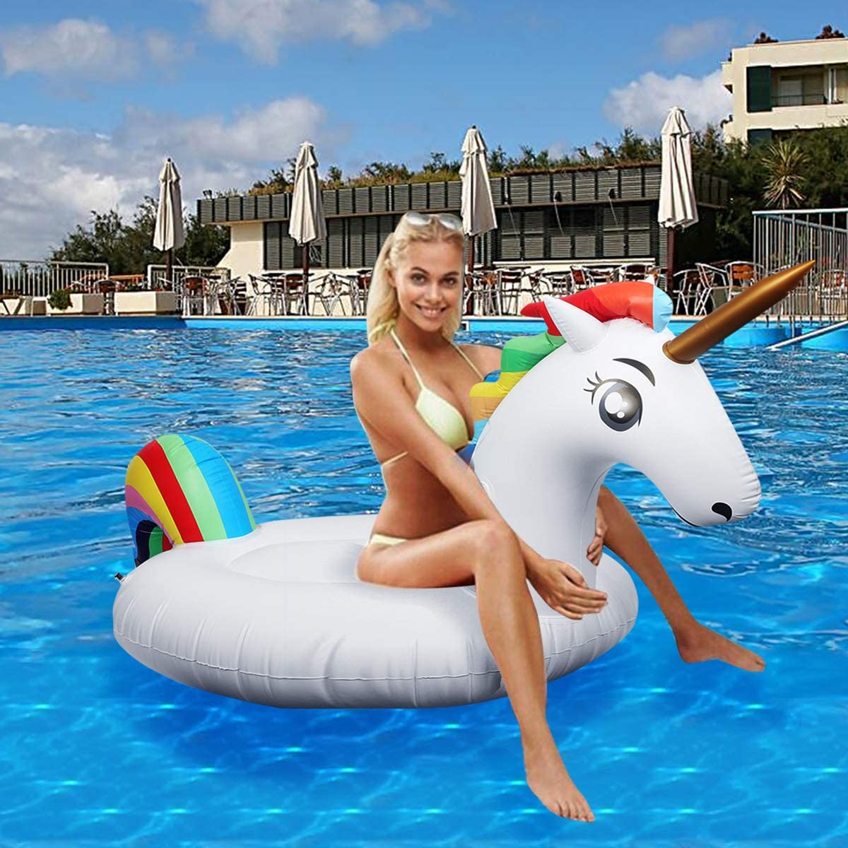 Flotador inflable para piscina con forma de unicornio, paseo flotante gigante con válvulas rápidas para adultos niños playa fiestas de piscina juegos Decoraciones de salón terraza (200x100x90 cm)