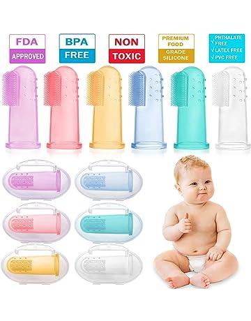 HBselect 6 Piezas Multicolor Cepillo Dientes Bebe Silicona Con Caja Cepillo Dedo Bebe Para 0-
