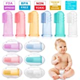 HBselect Baby Finger Toothbrush, 6 Pack Soft Safe Silicone Oral Massage Teething Toothbrush for Baby Girl Boy Unisex with Storage Case