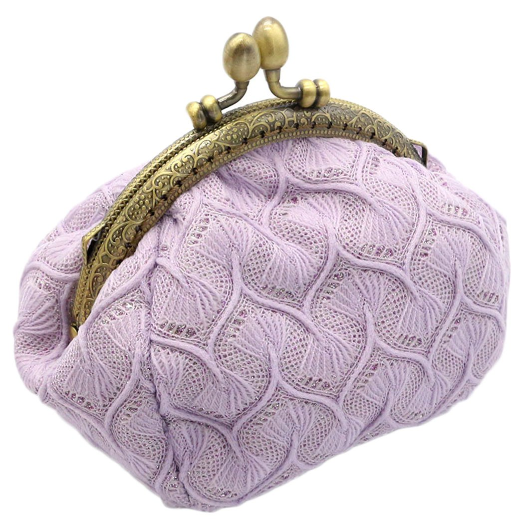 iSuperb Coin Purse Card Pouch Keys Wallet Cute Classic Jewelry Pouch Clasp Closure Wallet 5.1x3.5x3.2 inch(Pink)