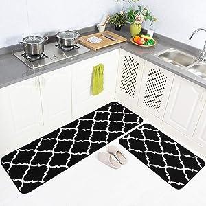 "Carvapet 2 Pieces Microfiber Moroccan Trellis Non-Slip Soft Kitchen Mat Bath Rug Doormat Runner Carpet Set, 20""x63""+20""x31"", Black"