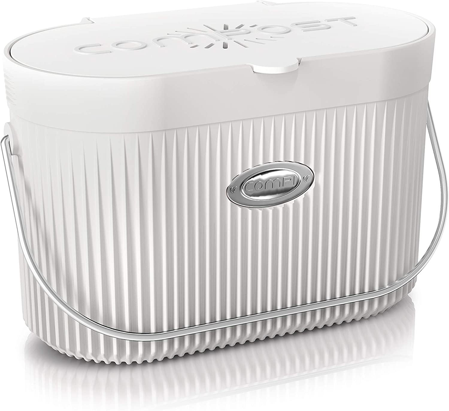 COMPi Bamboo Fiber Indoor Kitchen Compost Bin with Lid, 1.3 Gal, White - Sealed Countertop Container, Dishwasher Safe, Odor-Free with Carbon Filters