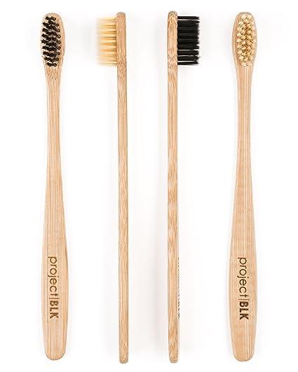 Juego de 4 cepillos de dientes de bambú de Project BLK. Certificado sin BPA.