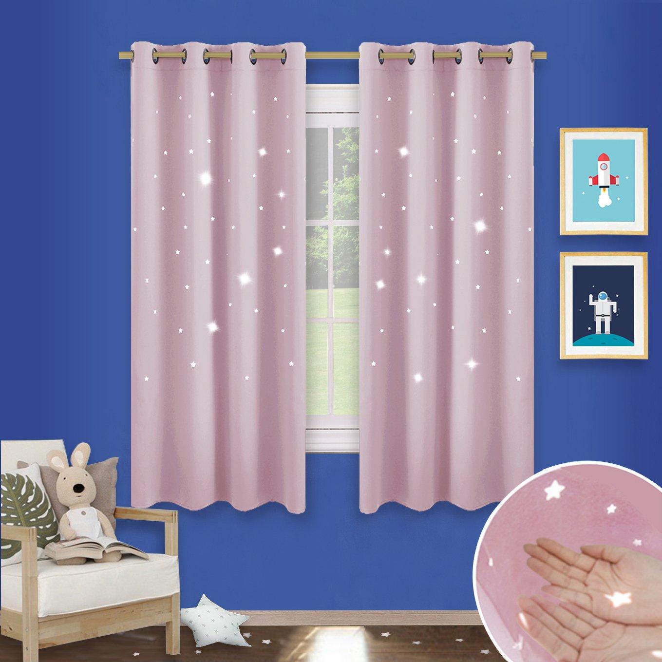 PONY DANCE Hollow Out Eyelet Star Curtains Night Sleep Cut Decor Twinkle Room Darkening