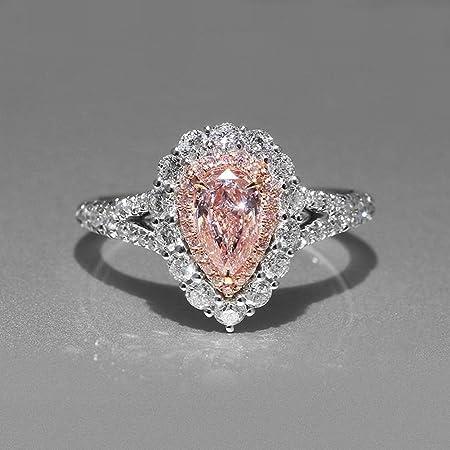 Diamantes Rosa Artificiales Artificiales Exagerados de Las Mujeres Pequeñas en Gotas Propuesta de Matrimonio Anillo de