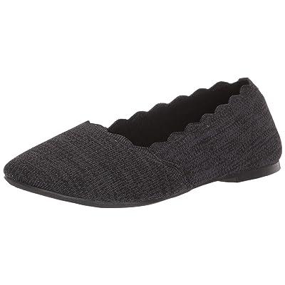 Skechers Women's Cleo-Newford-Scalloped Knit Skimmer Ballet Flat   Flats