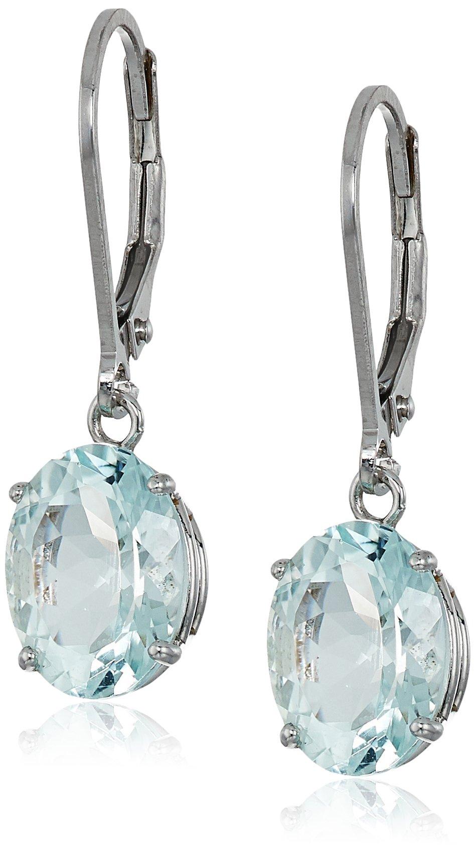 Sterling Silver Oval Aquamarine Dangle Earrings