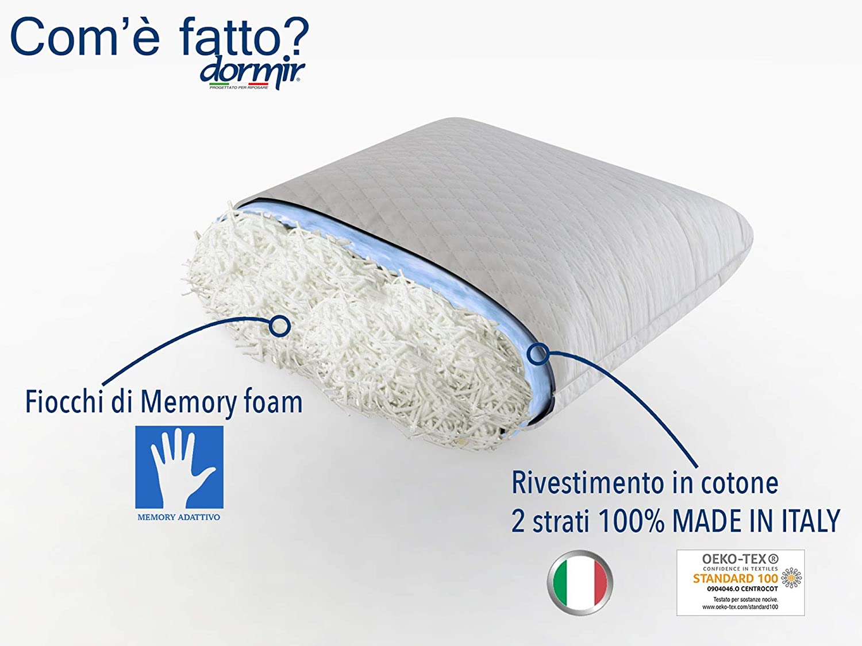 freschi ipoallergenici dolori cervicale Dormir- Kit guanciale Memory Foam in Fiocchi di Memory Wave 1 Cuscini Memory anatomici Made in Italy