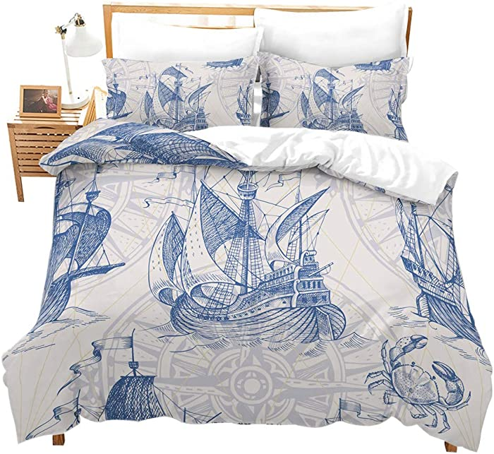 Erosebridal Nautical Decor Duvet Cover Set Sailboat Quilt Cover Set Queen Size Blue Vintage Style Bedspreads Microfiber Bedding Set for Kids, Teens, Adults
