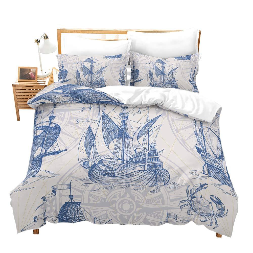 Erosebridal Nautical Decor Duvet Cover Set Sailboat Quilt Cover Set King Size Blue Vintage Style Bedspreads Microfiber Bedding Set for Kids, Teens, Adults