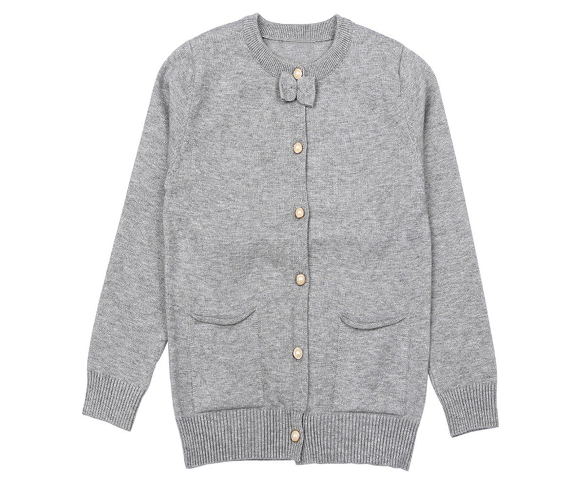 SMILING PINKER Little Girls Cardigan Long Sleeve Knit Sweaters with Cute Bow(7-8,Grey)