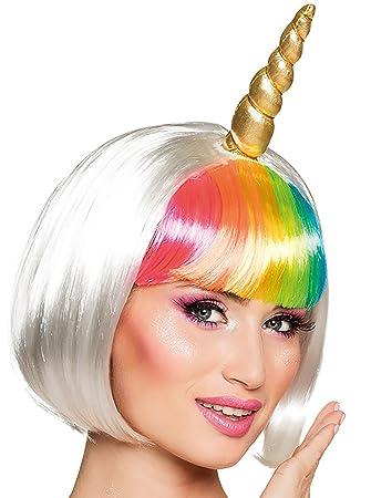 Fasching Fete Bob arco iris peluca Unicornio Unicorn Disfraz Unicornio Disfraz Cuerno y orejas Unicornio peluca