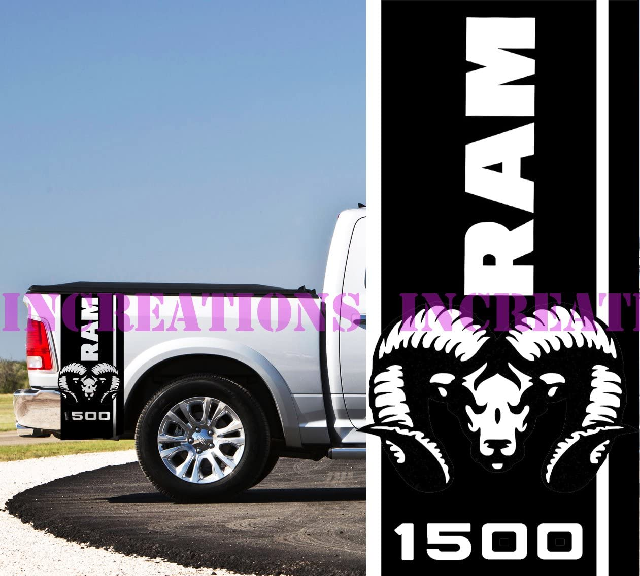 BLACK For Dodge Ram 1500 2500 3500 Rear Bed Truck Decals Stripes RAM HEAD Kit 40