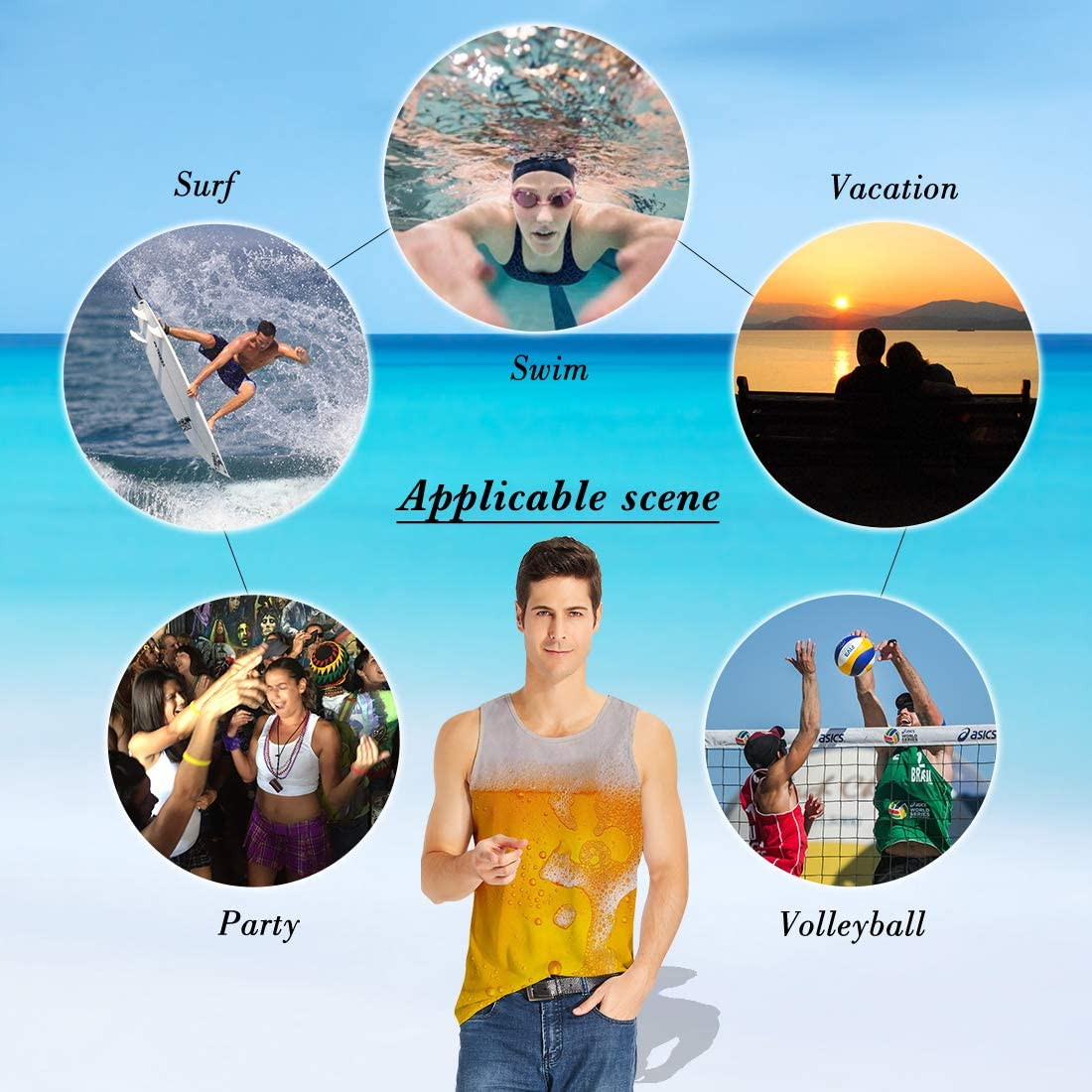 ALISISTER Mens 3D Tank Tops Funny Printed Casual Sleeveless Sport Gym Vest Shirt S-XXL Beer Yellow