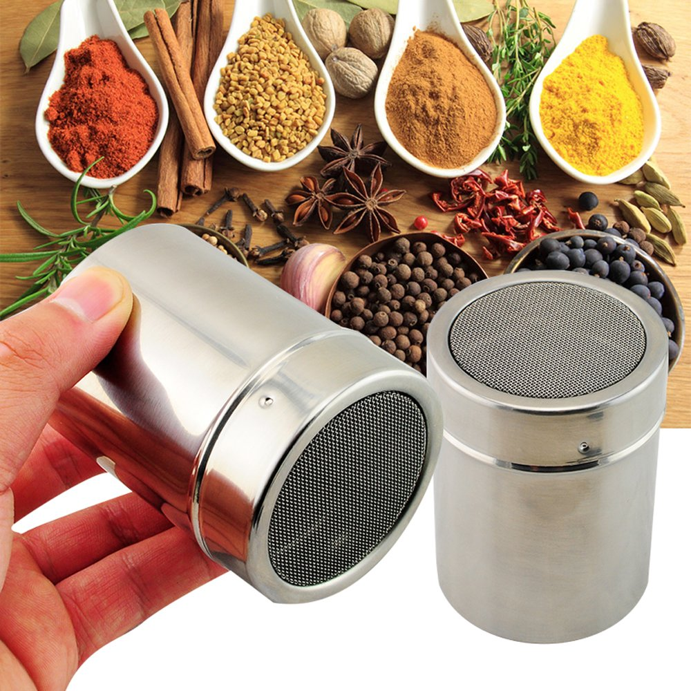 Enshey Stainless Steel Chocolate Shaker Duster Icing Sugar Powder Cocoa Flour Sifter Coffee Stencils Cappuccino Latte Art Stainless Steel Dispensers Cappuccino Stencils