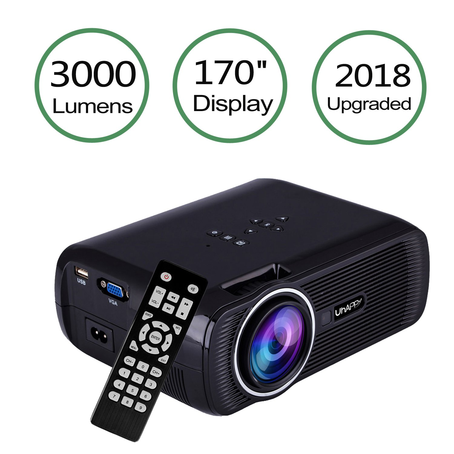 TOPRUI 2018 Mini LED Movie Video Projector, +30% Brighter Lumens Full HD Portable Projector 1080P with 170'' Big Display for Outdoor/ Home Theater HDMI,TV,SD Card,AV,VGA,USB, iPhone Android Laptop by Toprui