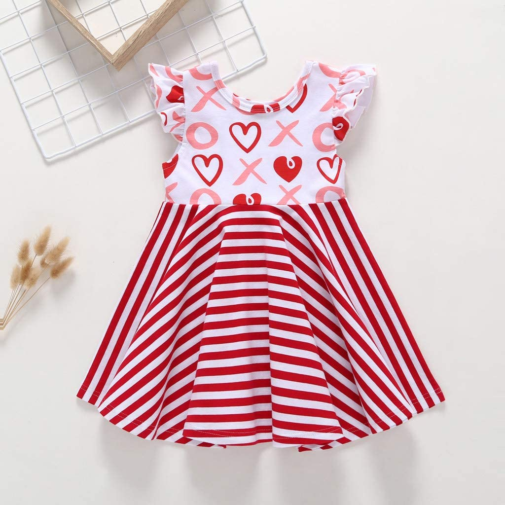 Newmao Toddler Girls Fly Sleeve Stripe Heart Printed Dress Summer Princess Dresses